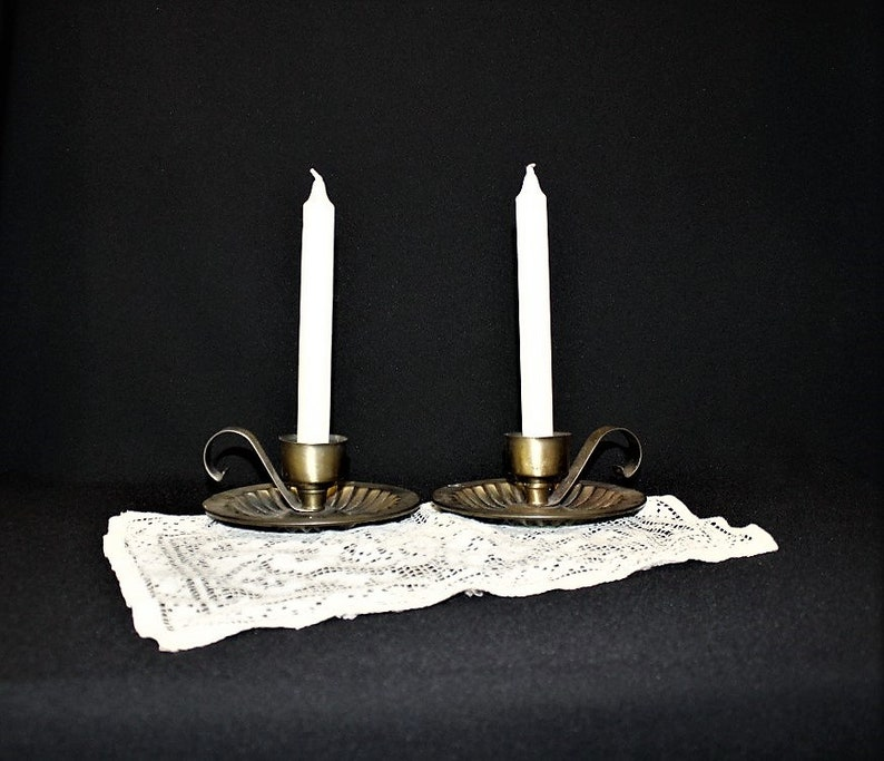 Vintage Metal CHAMBER CANDLESTICK Holders-Aged Patina-Taper Candle-Finger Handle-Country Bedroom Candle Dish-Orphaned Treasure-P012519D