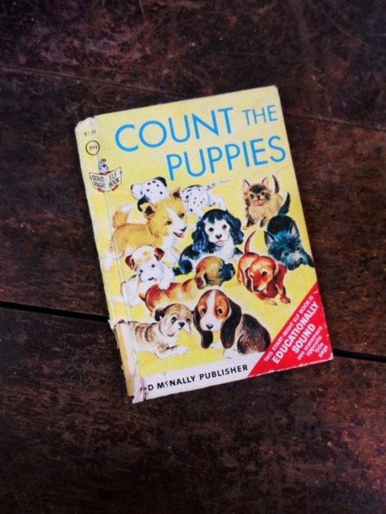COUNT the PUPPIES 1966 Book-by Carolyn Dee-Illustated by Mary  Whilldin-Retro Illustrations-Children's Story Book-Orphaned Treasure-092916E