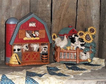 Farm Scene-Red Barn-Sunflowers-Cows-Pigs-Chickens-Cat-Home Interior Wall Hanging-Plaque-Vintage Home Decor Accent-Orphaned Treasure-A052118E