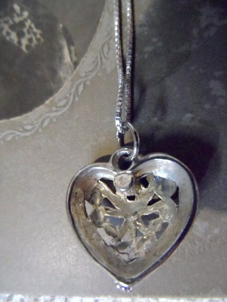 Filigree HEART Necklace-Romantic Heart Necklace-Dainty Italian 925 Silver Necklace-Token of Love-Keepsake-Gift for Her-Orphaned Treasure