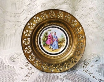 REGENCY Bone China Plate Framed in Brass- Made in England- Old Wall Hanging- Collector Plate-Courting Couple-Decorative Brass- Artist Signed