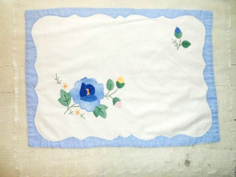 Floral Design-Blue Handmade Applique Flowers Cotton Placemats 3  Cloth Placemats-Vintage Handmade-Shabby Country Chic Table Placemats