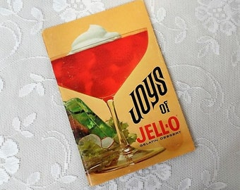 Joys of Jell-O Gelatin Dessert Cookbook -Nostalgic Recipes-Vintage Advertising-Retro Meals-Food-Cooking-Meal Prep-Orphaned Treasure-T041318W