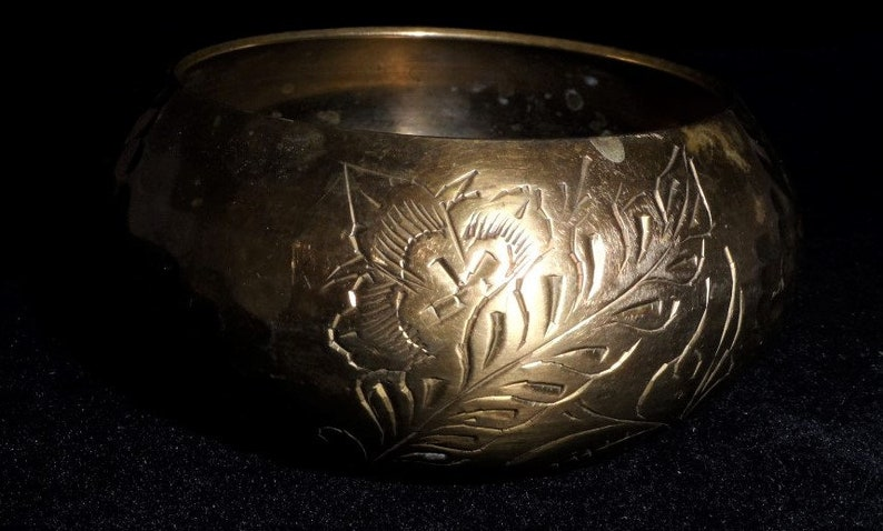 Wide Solid Etched Brass Bangle Bracelet-Aged Patina-Vintage Bohemian Treasure-Retro Hammered Brass Cuff Bracelet-Orphaned Treasure-Z031318F