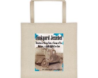 JUNKYARD JEZEBEL Tote Bag-Sturdy Canvas-Square-Flat Bottom-Flea Market-Junking-Gift-Shopping-Produce-Cotton-Orphaned Treasure-JJ061518P
