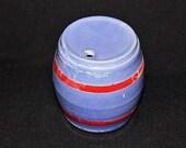 Vintage POTTERY WHISKEY KEG-Banded Barrel-Old Liquor Keg-Art Pottery-1940 39 s Pottery-Blue-Red Banding-Collectible Jar-Orphaned Treasure