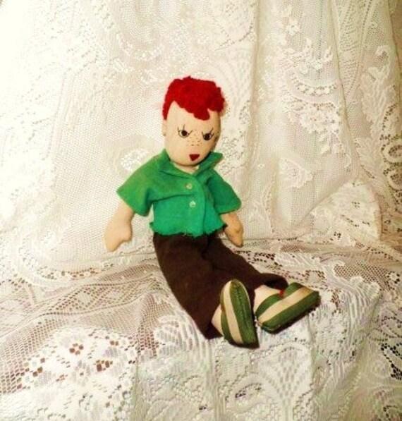 Anatomically Correct Handmade Boy Doll Old Rag Dolly Red