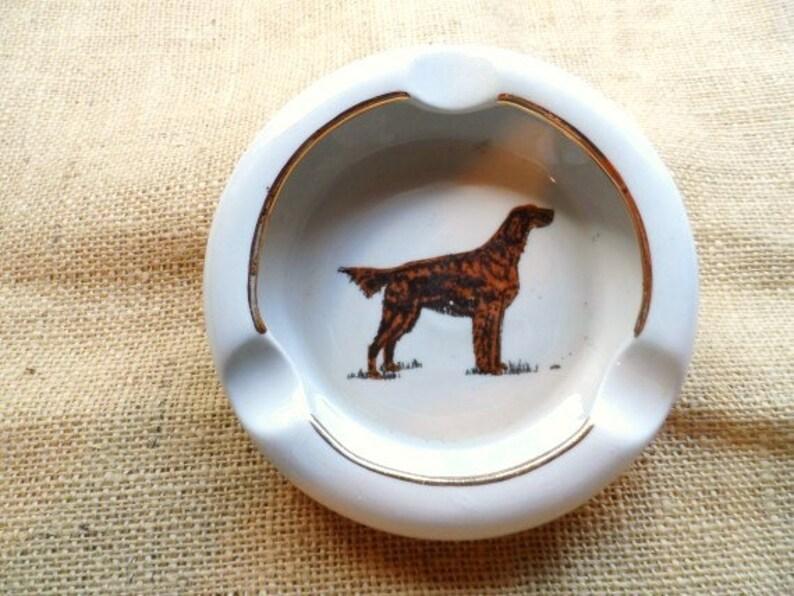 Pointer Dog Ashtray-Hunting Dog Ash Tray-Gold Edging-Irish Setter-Pup-Puppy-Retro Tobacciana-Vintage Art Pottery-Orphaned Treasure-090216C