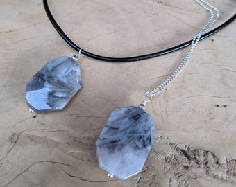 Silver Needle Agate Pendant on Sterling Silver or Leather Necklace