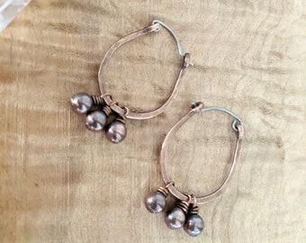Copper scoop earrings with copper dangles, hypoallergenic, titanium earrings, rustic jewelry