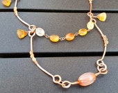 Hammered Copper Necklace with Orange Carnelian and Smoky Quartz Beading, Rustic, Victorian Jewelry, Long Two-Layer Necklace