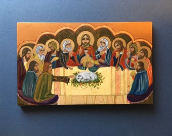 Last Supper, Christ and the Disciples - hand-painted Coptic icon.