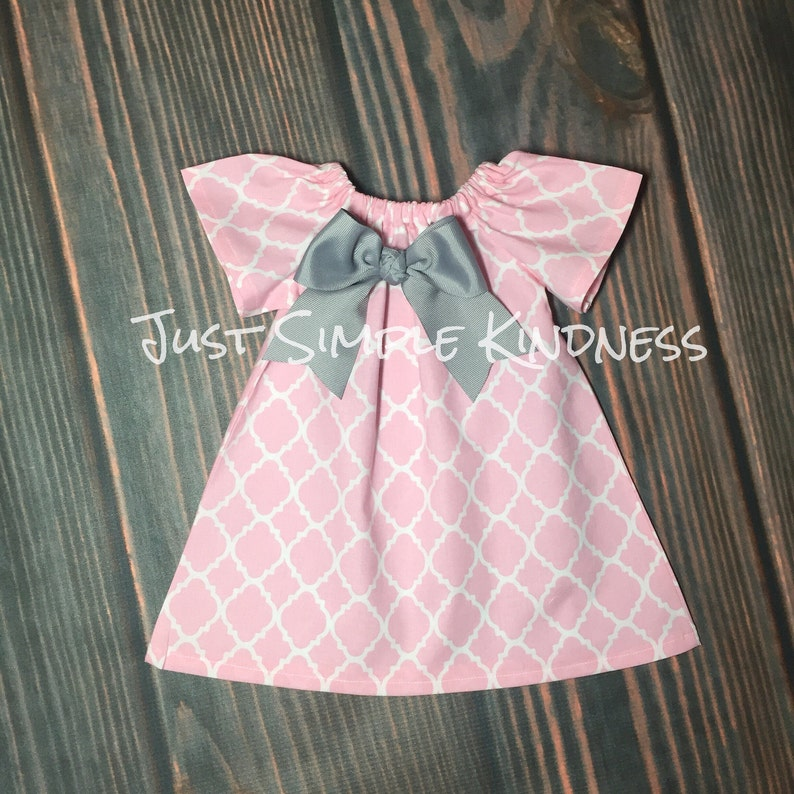 9313304df833d Girls Dresses, Girls Easter Dress, Girls Pink Gray Dress, Baby Easter  Dress, Baby girls dresses, Pink Quatrefoil Dress, Girls Pink Gray Dres