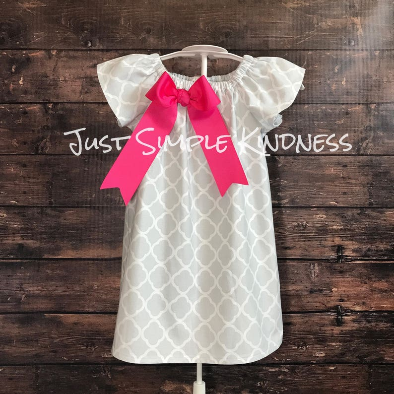 Toddler Girls Pink Navy Quatrefoil Spring Summer Dress Dresses Outfit Clothes