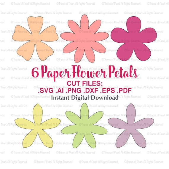 Petals paper flowers svg file cutting files for paper flower etsy image 0 mightylinksfo