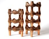 Set of 7 copper candlesticks, candleholder brutalist Quist Germany Variomaster stackable 60s 70s vintage