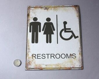 Vintage Bathroom Signs Etsy Il