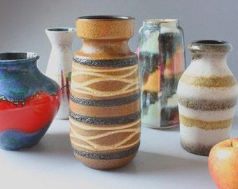 Scheurich Fat Lava vase ceramic vintage, brown beige ocher stripes, West Germany Boho home decor 60s 70s, gift wife her girlfriend friend
