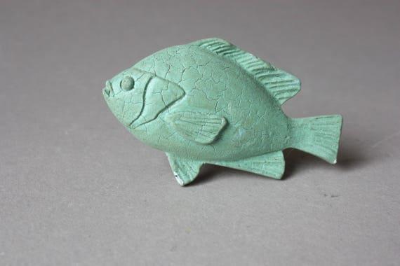4 Knäufe Fisch Nautik Griffe Tier Möbelgriffe Maritime Schubladengriffe Nautische Schrankknöpfe Türknäufe Türgriffe Grün Blau Creme