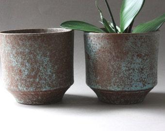 Set small planter ceramic 60s 70s, vintage flower pots, flowerpots, Germany, Mid Century modern, gift friend girlfriend wife office husband