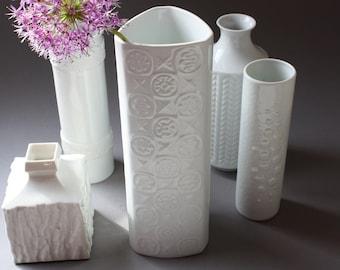 1 alka kunst Alboth & Kaiser white vase triangular, porcelain, Germany 50s 60s, Mid Century, home accessory, wedding gift