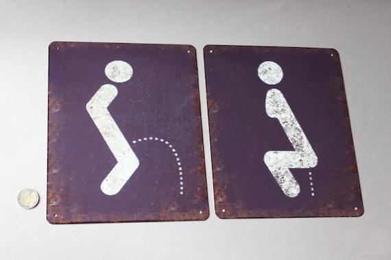 WC Schild Modern Toilettenschild aus Holz Kloschild WC zubehör