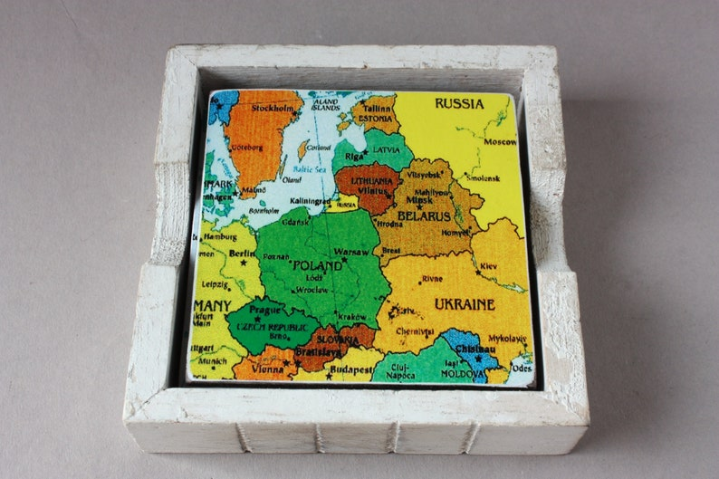 6 coasters Europe or World with holder small puzzle gag gift travellers woman her him sister brother rustic coaster colorful