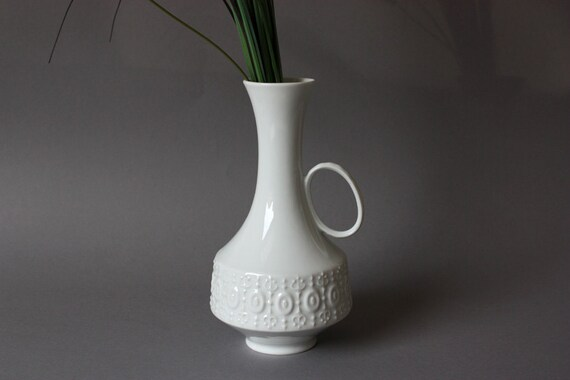 Weiße Vase Porzellan / Blumenvase / Henkel / Germany vintage | Etsy