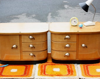 2 small chests of drawers, old side tables, bedside night table, cabinets, wood wooden, German furniture, Mid Century 50s 60s, vintage,