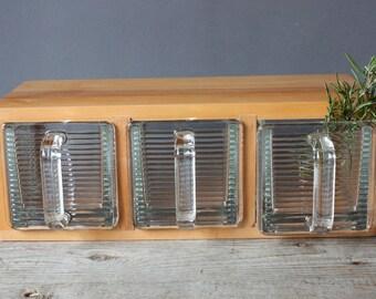 3 large scoops vintage with wooden frame / old spice glass jars / pourer / scoop / jar / Germany / kitchen decoration