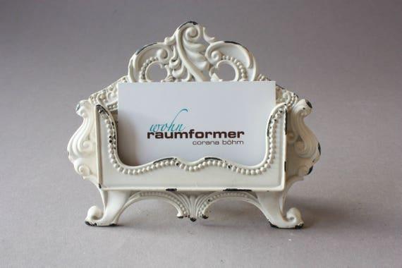 Business Card Holder Shabby White Romantic Stand Vintage Rustic Nostalgic Cream Desk Decor Gift Office
