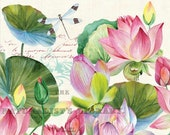 Napkin for Decoupage Water lilies Dragonfly Decorative Tissue Paper Craft Floral Tissue Card Making