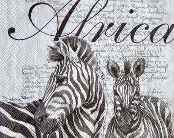 4 African napkins for decoupage Zebra paper serviettes African zebra decoupage napkins  13x13 inch Scrapbook paper