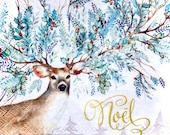 Napkin for Decoupage Winter Greens Deer Kids Crafts Decorative Tissue Collage Scrapbook Decoupage
