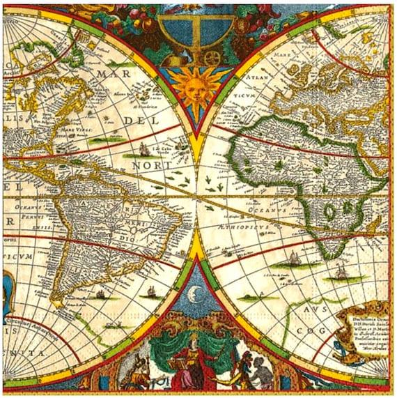 Paper Napkin for Decoupage//Old World Map//Craft Paper/Decoupage//Paper  Napkin//Decorative Paper//Paper Ephemera//Decoupage Napkin