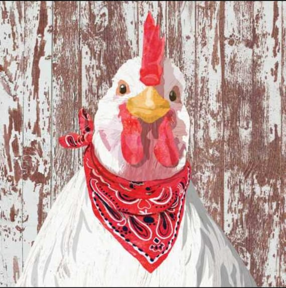 Napkin for Decoupage ~ Truman the Rooster ~ Craft Paper ~ Paper Ephemera ~ Napkin for Decoupage ~ Tissue for decoupage