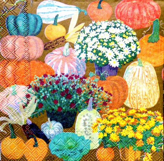 Decoupage ~ Collage Pumpkins ~ Paper Craft ~ 3,ply Napkin ~ Printed Napkins  ~ Floral Tissue ~ Napkin for Decoupage