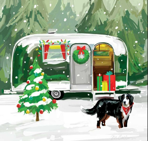 4 Single paper decoupage napkins Xmas car Winter night dog design -X161