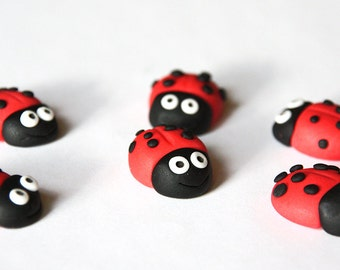 Edible ladybird cupcake toppers, fondant ladybirds, summer garden edible cake decoration, gumpaste ladybug x 10