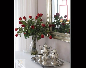 Red Roses & Silver Tea Set Photography Print, 8x10 matted to 11x14, or 5x7 matted to 8x10, Home Décor, Wall Art