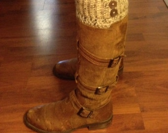 Crocheted boot cuffs with two buttons.