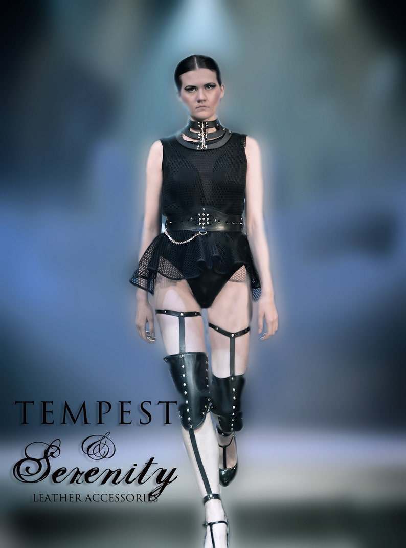 Leather Knee Pads Leather Garter Belts with Knee Pads Leg leather harness punk BDSM inspired Fetish