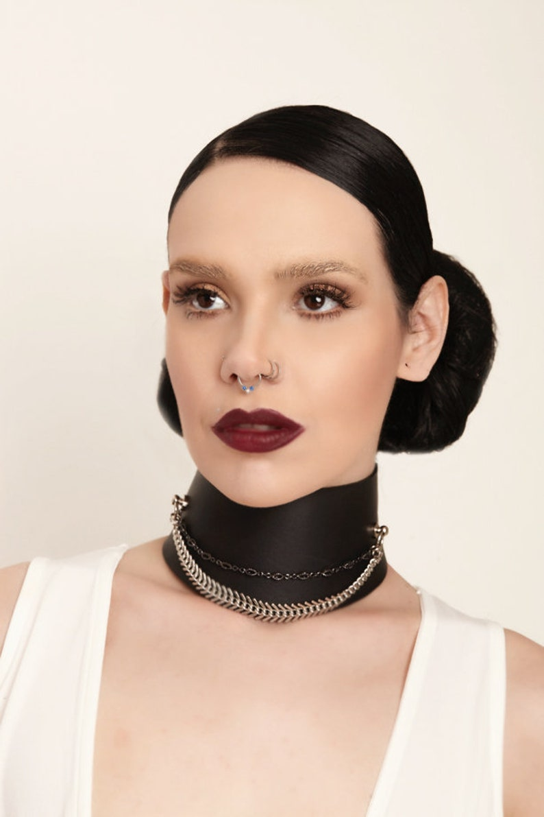 Fetish Leather Collar BDSM leather collar Black Leather | Etsy