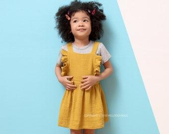 D40/Sewing pattern /PDF sewing pattern/Strap dress with ruffle/Girl's dress pattern/Girl's sewing patterns/Girls sewing patterns/6M-7Years