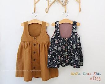 D53/Sewing pattern / PDF sewing pattern/ Girls Button dress sewing pattern/ Kids sewing pattern pattern/ baby sewing patterns / 3M~12Years