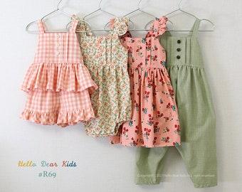 R69/ Sewing pattern/PDF sewing pattern/4 Bundle strap dress,  romper, top  and pants/Kids sewing pattern pattern/baby sewing pattern/3M~12Y