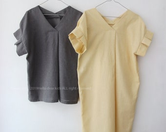 Women's PDF Sewing Pattern / Blouse and  Dress with pleated sleeves / - Regular fit - (sizes XXS-XL)