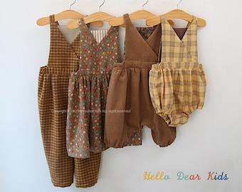 R63/ Sewing pattern/PDF sewing pattern/4 Bundle dress, romper and pants/Kids sewing pattern pattern/baby sewing pattern/3M~12Y