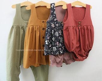 R65/ Sewing pattern/PDF sewing pattern/4 Bundle Button dress, romper and bloomer/Kids sewing pattern pattern/baby sewing pattern/3M~12Y