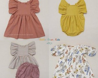 R71/ Sewing pattern/PDF sewing pattern/4 Bundle frill dress,  romper, top  and pants/Kids sewing pattern pattern/baby sewing pattern/3M~12Y